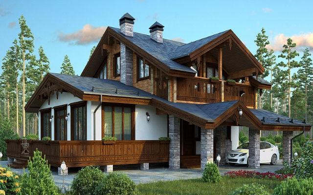 Экстерьер дома в стиле швейцарского шале