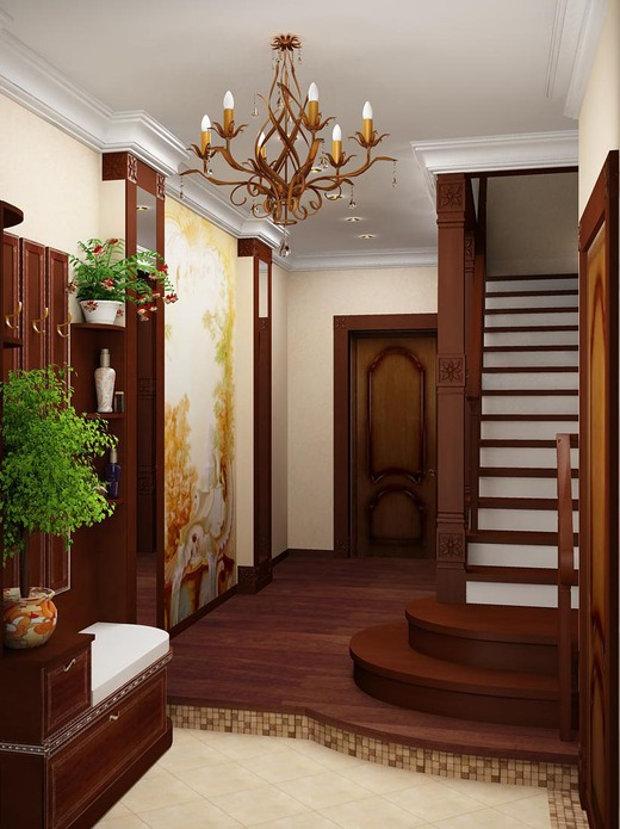 Дизайн-проект прихожей с лестницей
