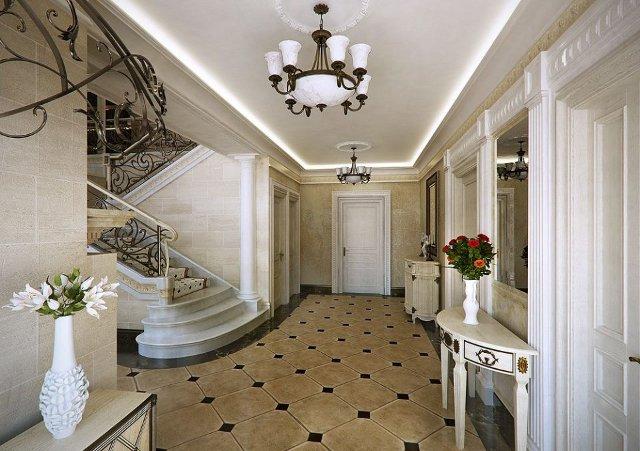 Прихожая и холл выполненные в классическом стиле