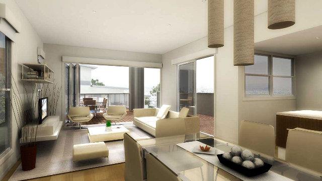Просторная и светлая гостиная в современном стиле