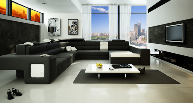 Вариант дизайна гостиной в стиле хай-тек