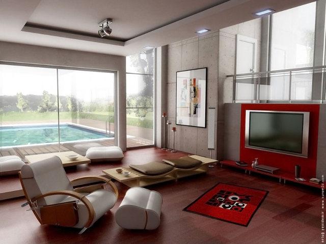 Красный цвет в интерьере современной гостиной