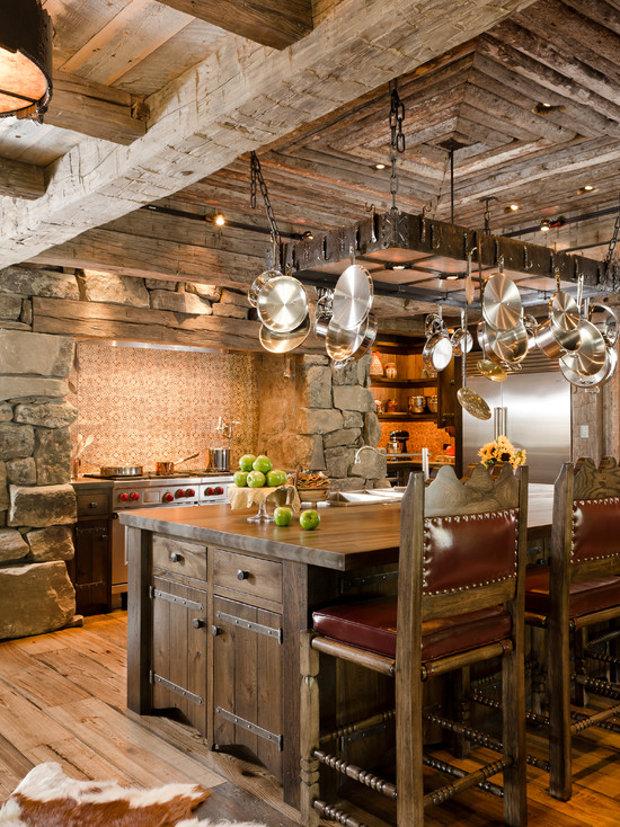 Деревенский стиль в интерьере кухни современного загородного дома