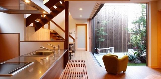 Дизайн кухни-гостиной в японском стиле