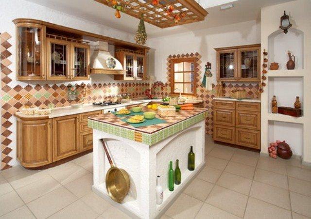Пример оформления интерьера кухни по-деревенски