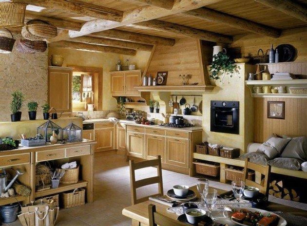 Разнообразные предметы интерьера на деревенской кухне