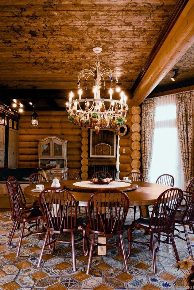Интерьер кухни-столовой оформленной с традиционном русском стиле