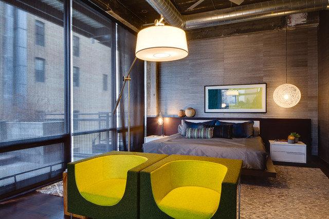 Дизайн спальни в сдержанном индустриальном стиле
