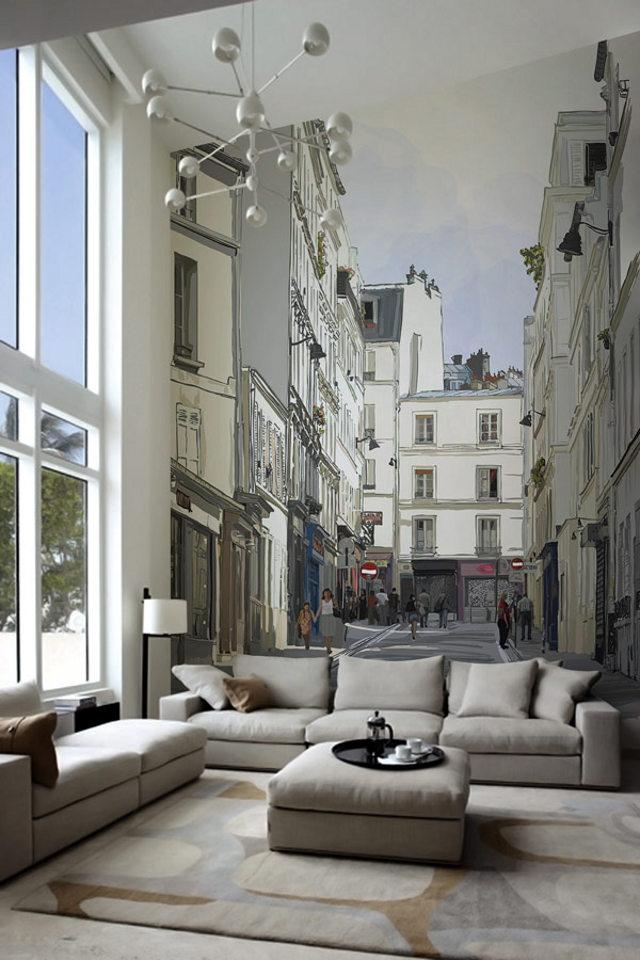Фрески прекрасно смотрятся и в современных интерьерах