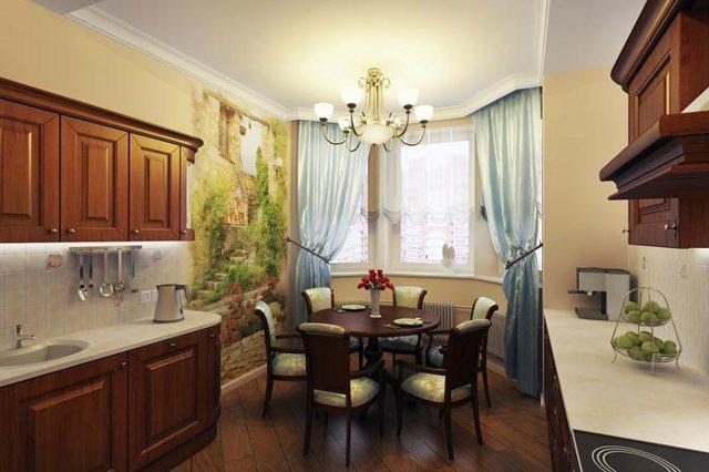 Фреска с интерьере кухни-столовой