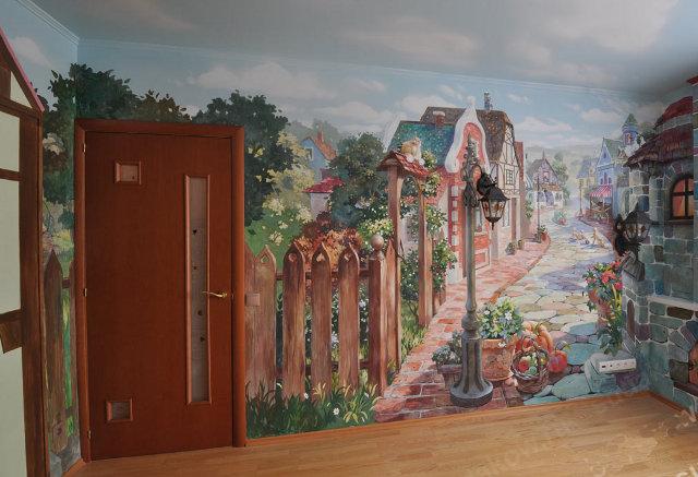 Пример использования фрески в интерьере детской комнаты