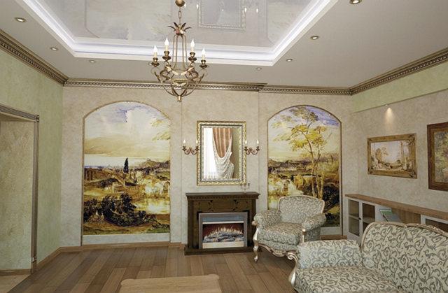 Фрески в интерьере классической гостиной