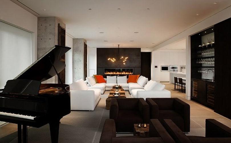 Шикарная гостиная с роялем