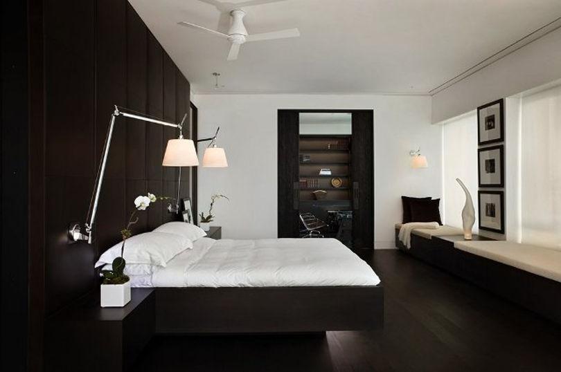 Спальня выполнена в стиле минимализм