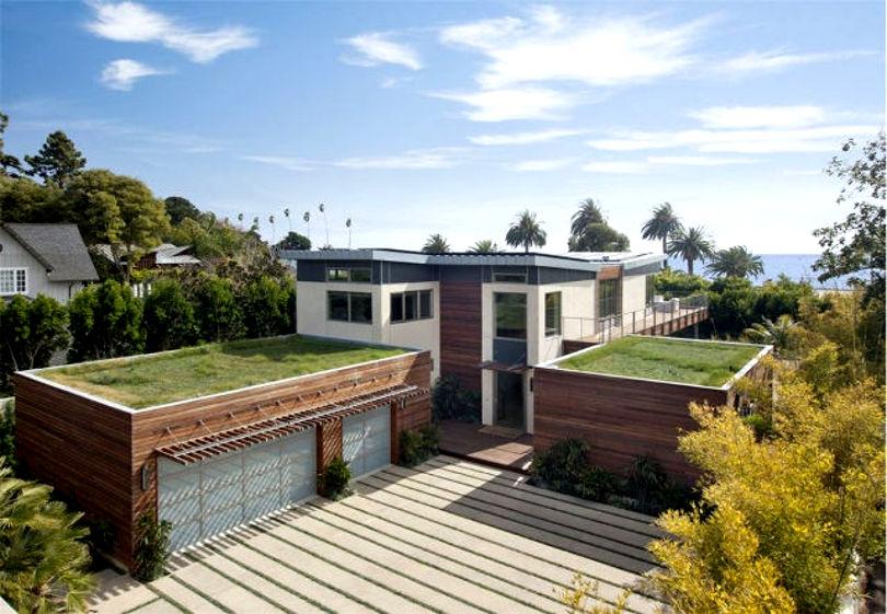 Плоская крыша с газоном - оригинальное решение